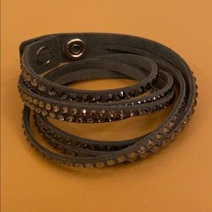 NWOT Swarovski grey leather wrap bracelet